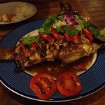 fried white snapper in tamarind sauce