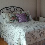 The beautiful Burgundy room, offers a double bed. $100.00 a night