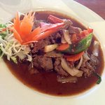 beef dish (the first one on the menu under beef dishes, in four words thai name)