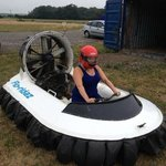 sitting in the hover craft