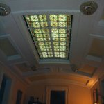 Stain glass over grand staircase