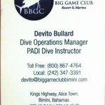 Devito's Info for scuba at the Big Game Club