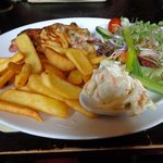 Smokey Mountain Chicken with Chips and Salad