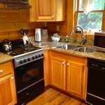 Small oven and dishwasher, but adequate for a one-bedroom cabin, especially with a grill outside