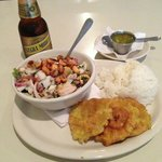 Ceviche mixto with patacones (plantain fritters)