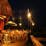 outside at the bar and deck on the beach