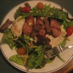 Salad, with chicken, beef, and sausage & pine nuts! Gluten Free!