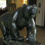 Bear sculpture near check-in