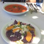 Gaspacho and beatroot with orange and feta