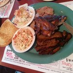 3-meat combo (brisket, sausage, & bbq chicken) with mac salad & cole slaw