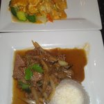 hicken Curry and Beef Fried Basil dishes