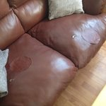 patched up sofa, sums up the whole place - in need of repair!