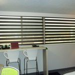 Cool blinds, bar area in room