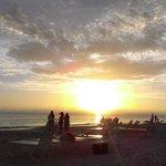 Sunset on beach at motel