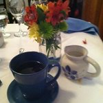 Flowers and coffee after dinner