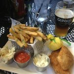 Fish and Chips (cooked in duck fat) with Dark Side of the Moon (1/2 Guinness and Blue Moon)