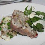 Confit Pork Terrine, Pea & Bacon Salad, Garlic Oil & Horseradish Dressing