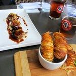 Pig Cheek (left), Potato Crusted Shrimp (right)