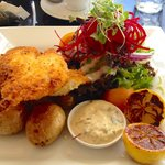 The Fish - Macadamia nut-crusted Dory with baby potatoes, homemade tartare, salad and grilled le