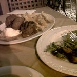 Delicious grilled mushrooms. Huge meat balls with caramelised tomatoes, pita bread and french fr