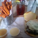 Bacon Breakfast Burger with Sweet Potato Fries, smoked pineapple puree, maple aiolio