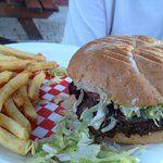 Good size burger and fries. Not child size portions!