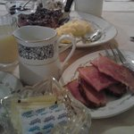 Fluffy eggs, ham, french toast and coffee, YUM