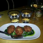Smoked trout fritters