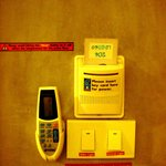 Aircon remote, room keycard