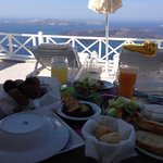 delicious breakfast with the volcano view