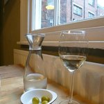 Vino and olives with view up Backwallgate