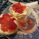 Plenty of cream and jam for a scone