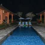 night shot of the pool area