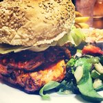 Peri Peri Chicken Burger topped with pulled beef