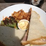 gorgeous sandwich with parsnip crisps and a tasty salad