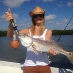 Women like to catch big Red Fish Too!