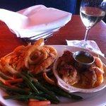 "Luke Warm ""Bird's Eye"" onion rings & veggies served with shrimp with crab stuffing NOT lump crab"
