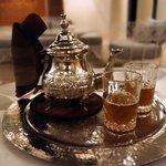 Enjoying some Moroccan mint tea