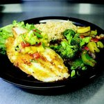 Grilled Fish - today's fresh catch, grilled and topped with our pineapple mango salsa.