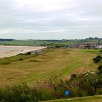 View from highest tee towards small clubhouse