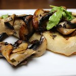 Mushroom Bruchetta, Sauteed mushrooms in garlic & tarragon butter on grilled ciabatta