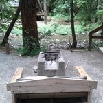 Fire pit outside Cabin 4; Big Sur River in background.
