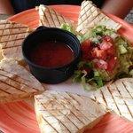 chicken quesadilla and guacamole