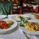 Bruschetta with cheese, porcini mushroom souffle, tagliatelle with porcini mushrooms