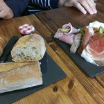 Sweet and hearty breakfast combos served on slate