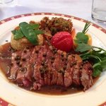Sirloin steak with pepper sauce