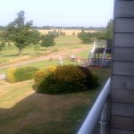Balcony view of the 1st tee. A 4 ball going out at 8am!