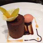 Chocolate desert with orange sorbet.  Simply incredible.