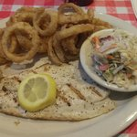 Grilled redfish with onion rings & slaw