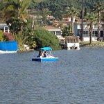 children enjoying the paddle boat and kayak